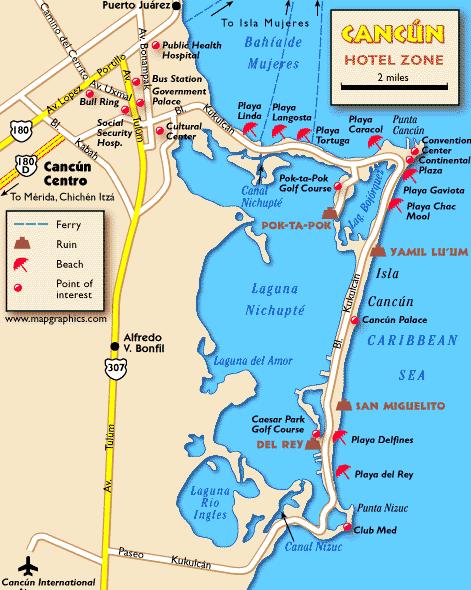 Mapa da zona Hoteleira Cancún