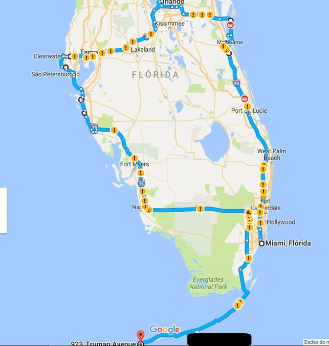 Mapa com percurso Flórida